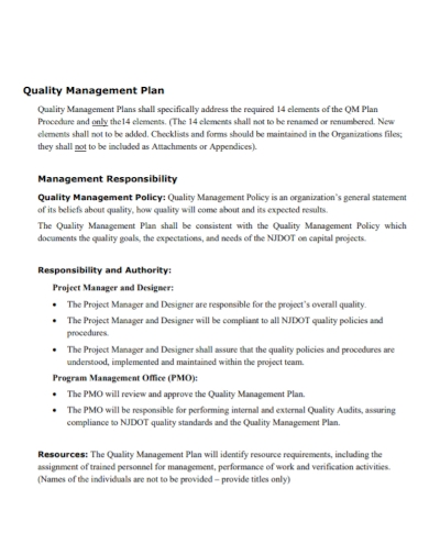 project manager quality management plan