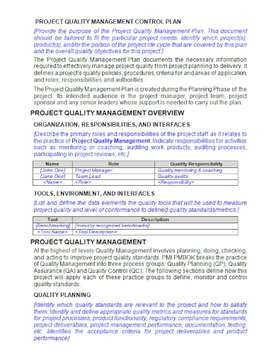 project quality management control plan