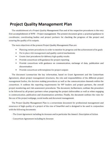 project quality management plan