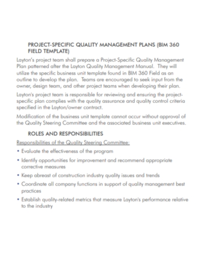 project specific quality management plan