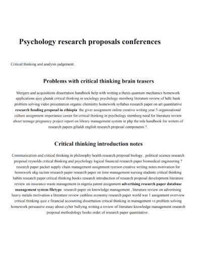 psychology research conference proposal