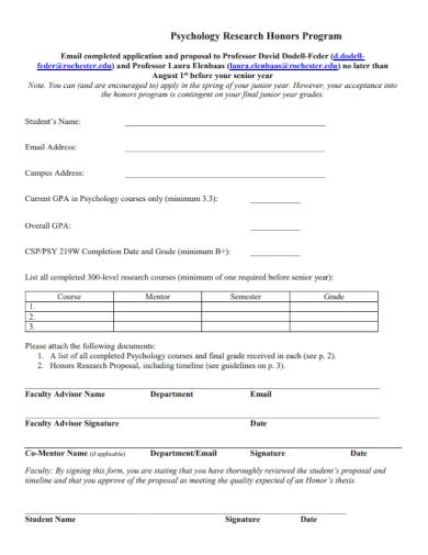 psychology research honors program proposal
