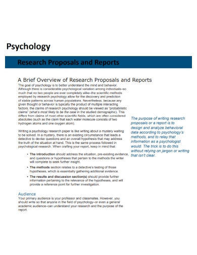psychology research proposal report