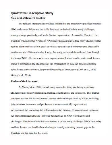 qualitative descriptive study research statement