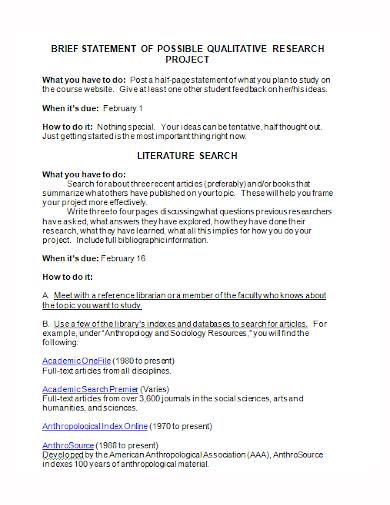 qualitative project research statement