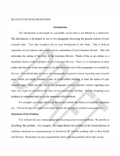 qualitative research paper problem statement
