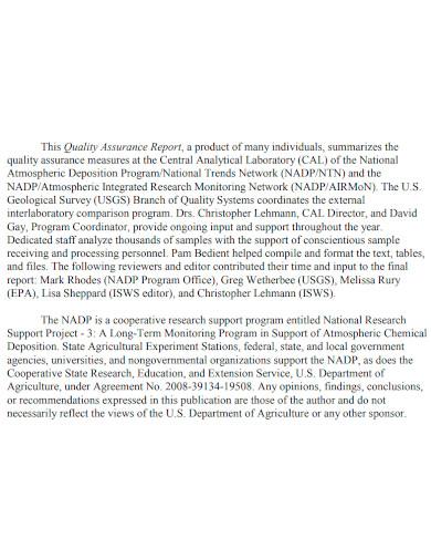 quality assurance report sample