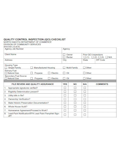 quality control inspection checklist
