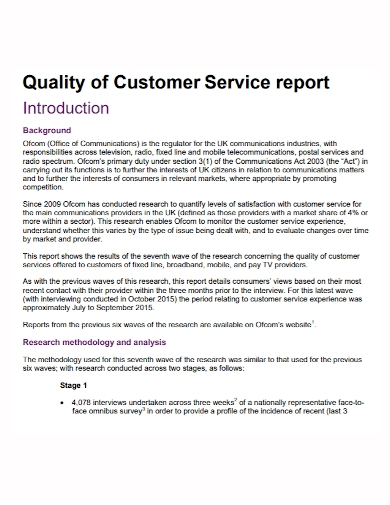 quality customer service report
