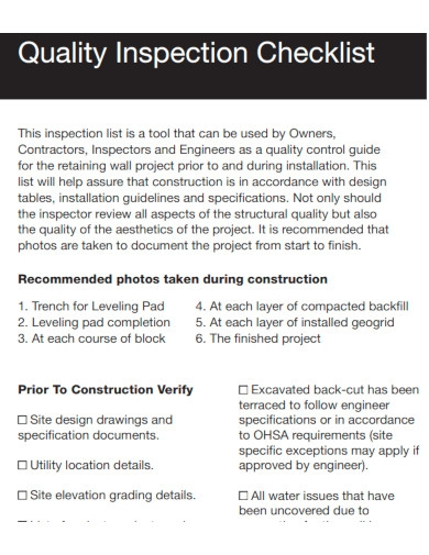 quality inspection checklist sample