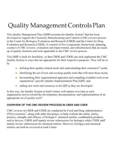quality management control plan