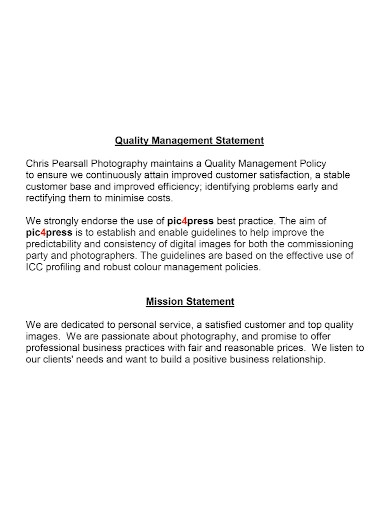 quality management mission statement