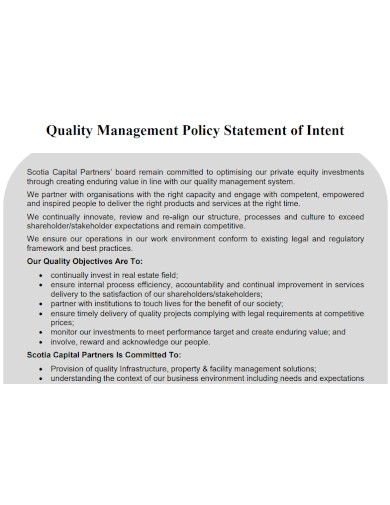 quality management policy statement of intent