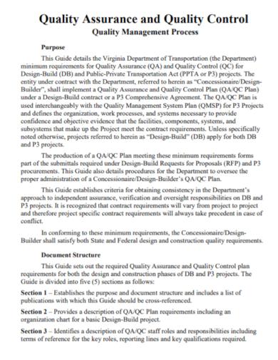 quality management process control plan