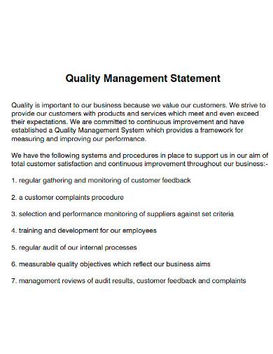 quality management statement format