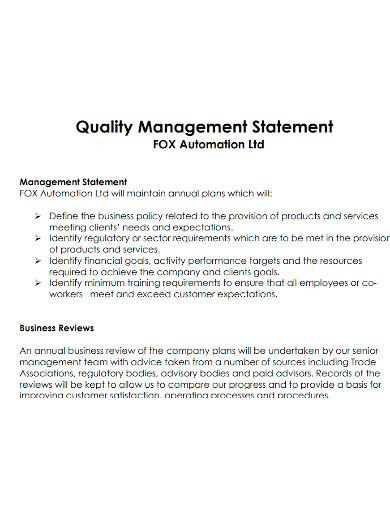 quality management statement sample