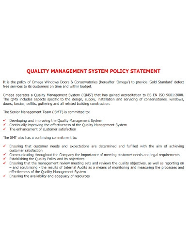 quality management system policy statement