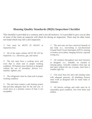 quality standards inspection checklist