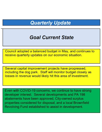 quarterly business plan progress updates