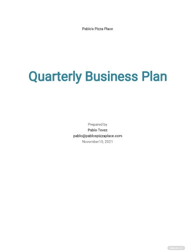 quarterly business plan sample