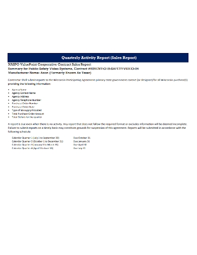 quarterly cooperative sales activity report