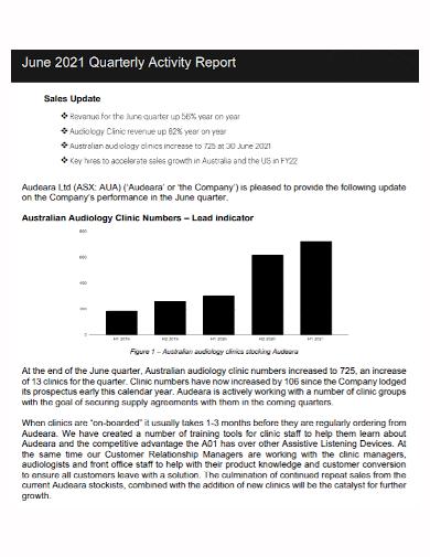 quarterly sales update activity report