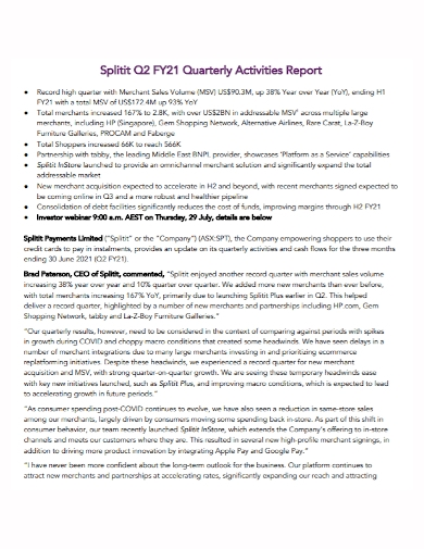 quarterly sales volume activity report