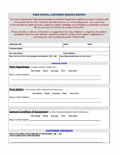 rental customer service report