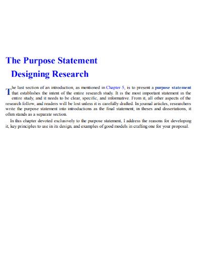 research design purpose statement