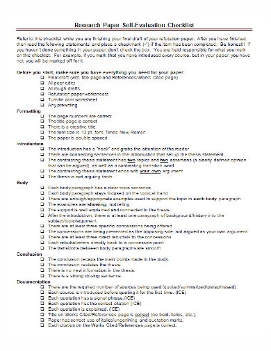 research paper self evaluation checklist