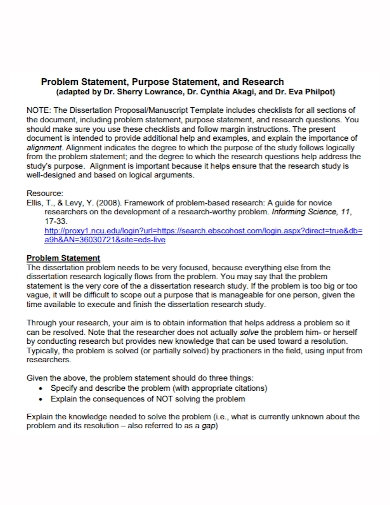 research problem purpose statement