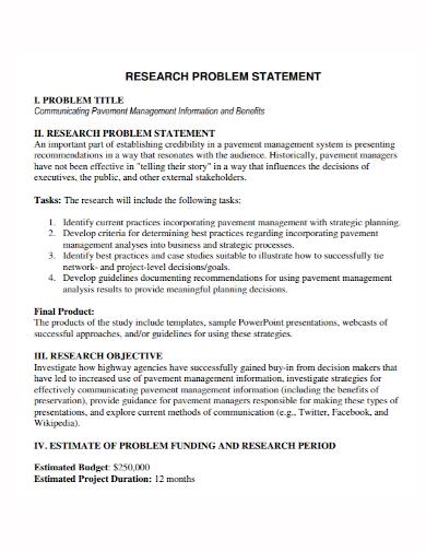 research problem title statement