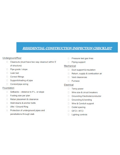 residential construction inspection checklist