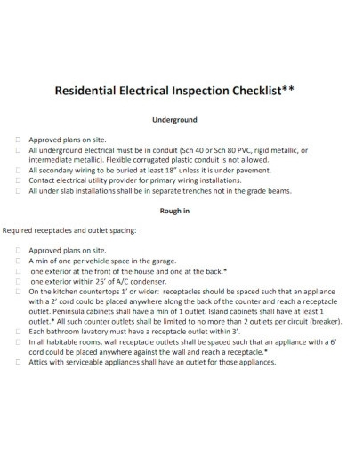 residential electrical inspection checklists