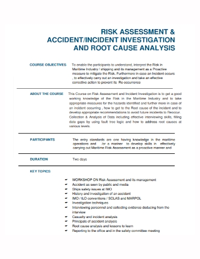 risk assessment incident accident analysis