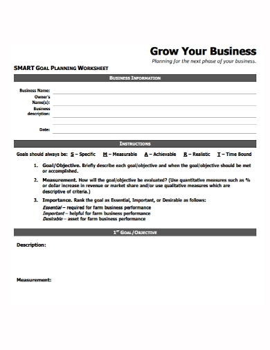 smart business goals planning worksheet