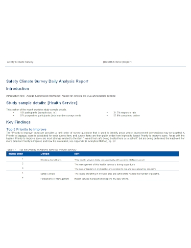 safety climate survey daily analysis report
