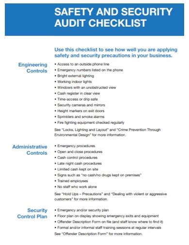 safety and security audit checklist