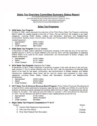 sales tax committee summary status report