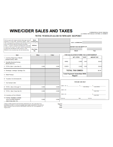sales and tax wholesaler summary report