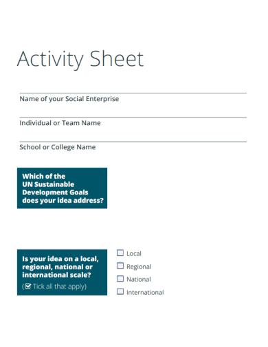 sample college activity sheet