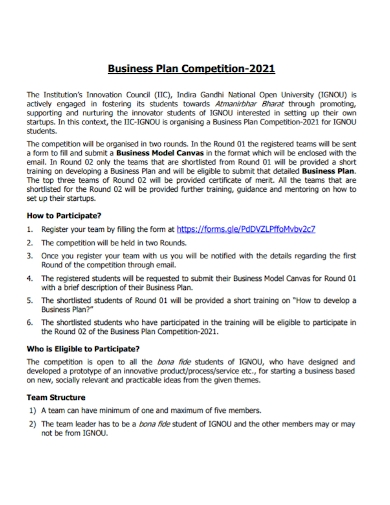sample competition business plan