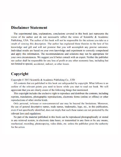 sample copyright disclaimer statement