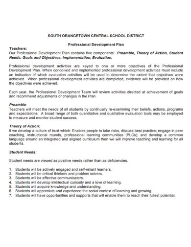sample development plan for teachers
