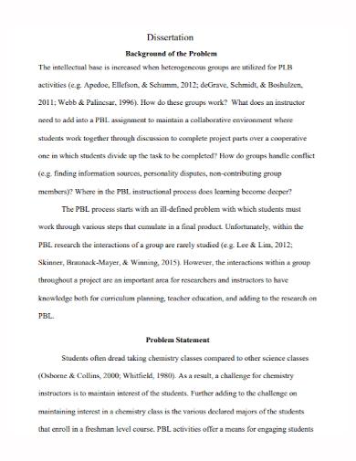 sample dissertation problem statement