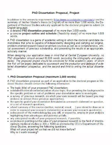 sample dissertation project proposal