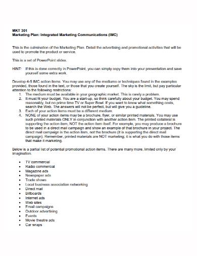 sample integrated marketing communications plan