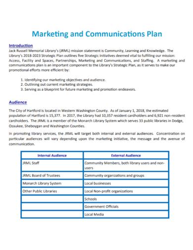 sample marketing communications plan