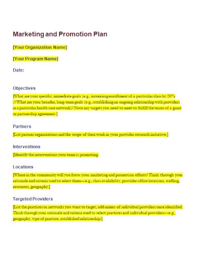 sample marketing promotion plan
