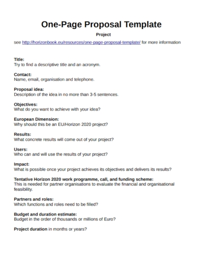 sample one page project proposal